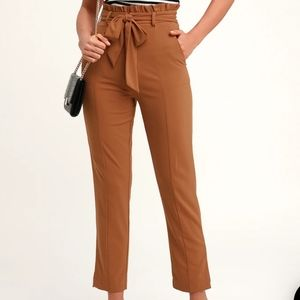 NWOT Lulus Camel Brown Paper Bag Waist Pants
